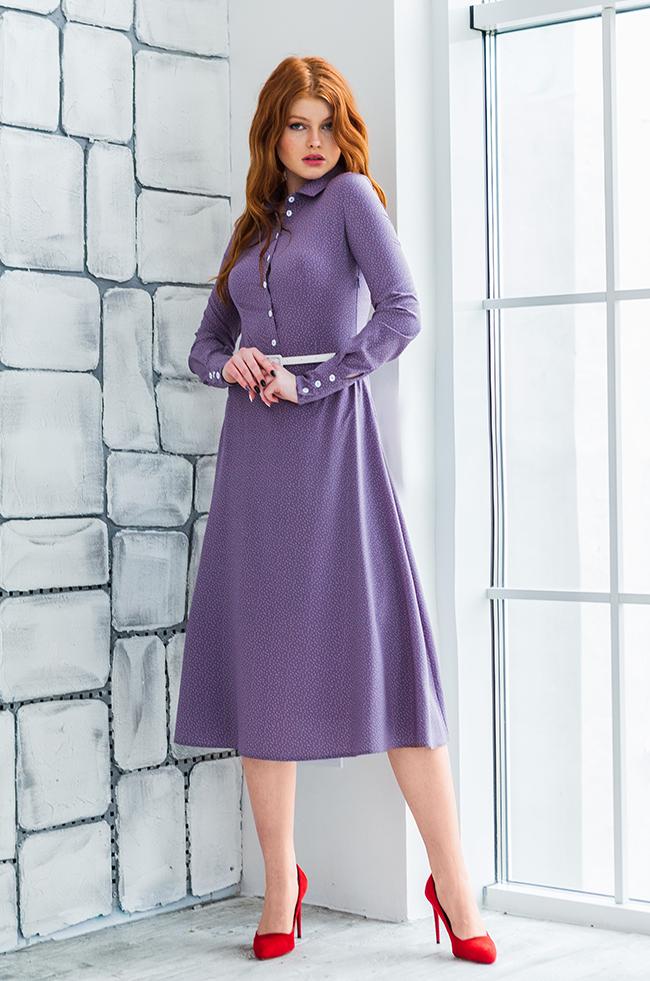 Платье миди 'горох' Сиреневое Lipar