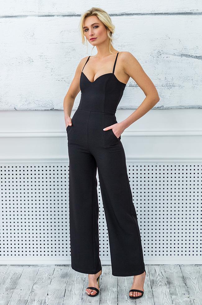Комбінезон класичний з брюками палаццо Чорний Lipar