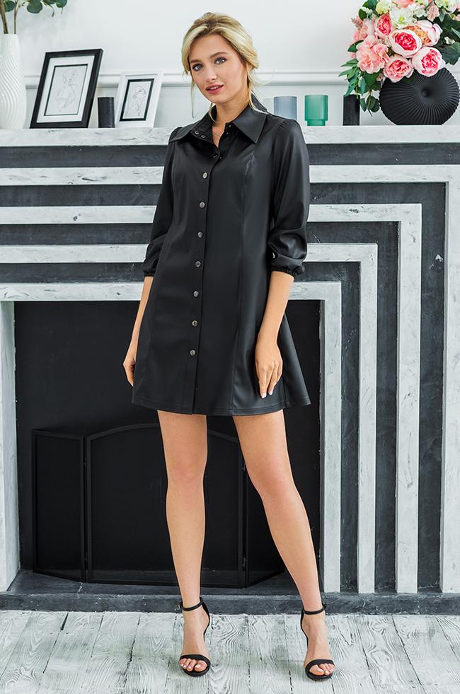 Сукня з еко-шкіри Чорна Lipar