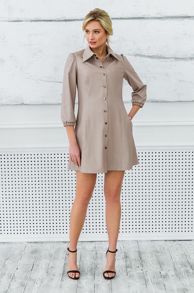 Сукня з еко-шкіри Беж Lipar